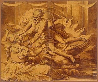 Perino Del Vaga Drawing - Jupiter Appearing To Semele by Perino del Vaga
