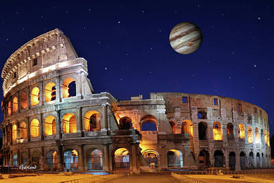 Travelling Mixed Media - Jupiter Games At The Colosseum Tonight  by Garland Johnson