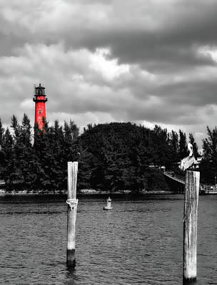 Jupiter Inlet Photograph - Jupiter Inlet Lighthouse - Selective Color by L O C