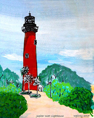 Cape Florida Lighthouse Painting - Jupiter Inlet Lighthouse by W Gilroy