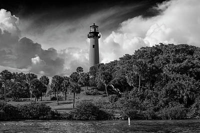 Photograph - Jupiter Lighthouse Bw by Laura Fasulo