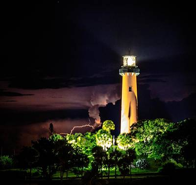 Photograph - Jupiter Lighthouse Lightning by Christopher Perez