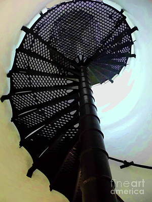 Photograph - Jupiter Lighthouse Spiral Staircase Colorful by D Hackett