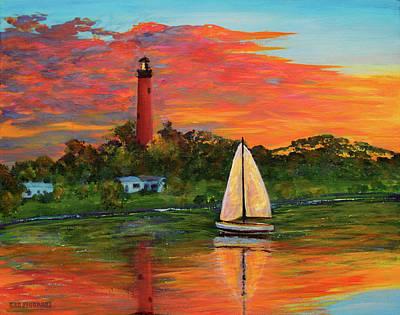 Jupiter Lighthouse Sunrise Alt Art Print