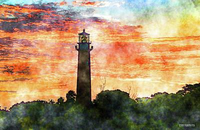 Mixed Media - Jupiter Lighthouse Sunrise Art by Ken Figurski