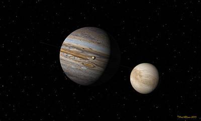 Digital Art - Jupiter With Io And Europa by David Robinson
