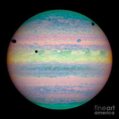 Heavenly Body Photograph - Jupiters Moons In Rare Alignment by Science Source