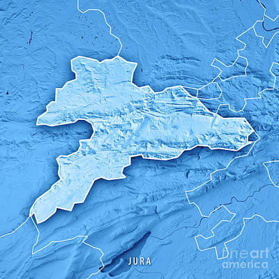 Map Digital Art - Jura Canton Switzerland 3d Render Topographic Map Blue Border by Frank Ramspott