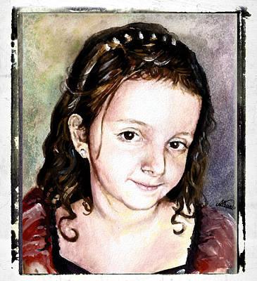Painting - Jusra Portrait by Alban Dizdari