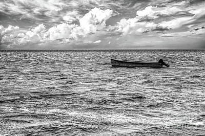 Photograph - Just A Boat On The Outer Banks Bw by Dan Carmichael