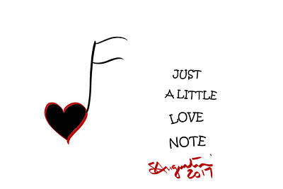 Just A Little Love Note Print by Sharon Augustin