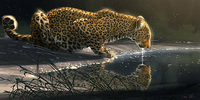 Leopard Wall Art - Digital Art - Just A Sip by Aaron Blaise
