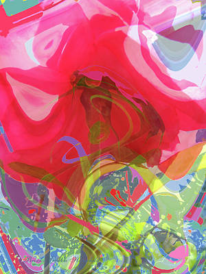 Just A Wild And Crazy Rose - Floral Abstract - Colorful Art Art Print