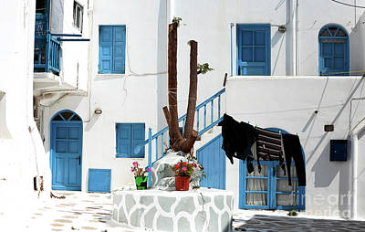 Blue Door Greece Photograph - Just Another Day In Mykonos by John Rizzuto
