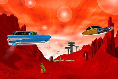 Little Green Men Digital Art - Just Another Day On The Red Planet 3 by Mike McGlothlen