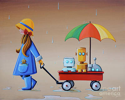 Raincoats Painting - Just Another Rainy Day by Cindy Thornton