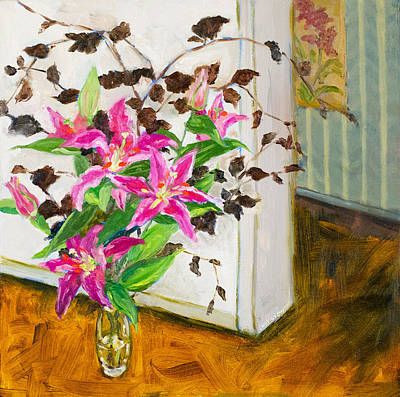 Painting - Just Around The Corner Flowers by Lucy Chen