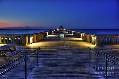 Photograph - Just Before Dawn Folly Beach Pier Charleston Sc Sunrise Art by Reid Callaway
