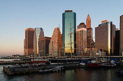 Photograph - Just Before Sunrise - Manhattan South Street Seaport Historic Ships by Georgia Mizuleva