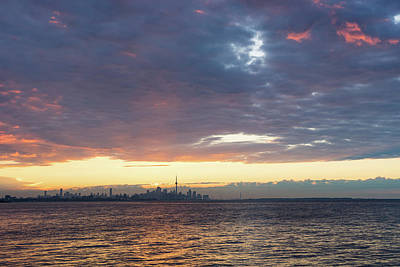 Photograph - Just Before Sunrise - Toronto Skyline Silhouette by Georgia Mizuleva