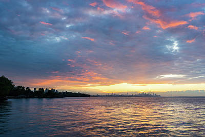Photograph - Just Before Sunrise - Toronto Skyline Under Spectacular Clouds by Georgia Mizuleva