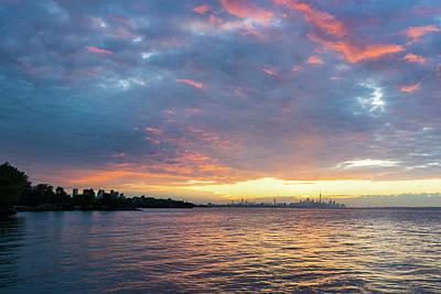 Photograph - Just Before Sunrise - Toronto Skyline Under Spectacular Clouds by Georgia Mizuleva