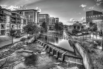 Photograph - Just Before Sunset 2 B W Reedy River Falls Park Greenville South Carolina Art by Reid Callaway