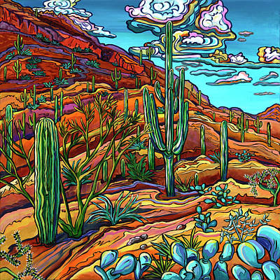 Sonoran Desert Painting - Just Before Sunset by Alexandria Winslow