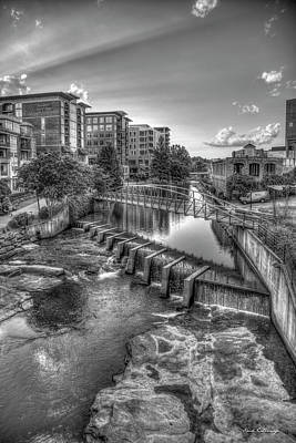 Photograph - Just Before Sunset B W Reedy River Falls Park Greenville South Carolina Art by Reid Callaway