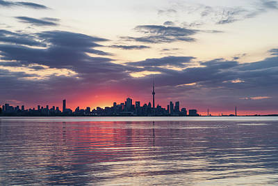 Photograph - Just Before - The Sun Is About To Rise Over Toronto Skyline by Georgia Mizuleva