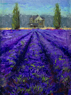 Impressionistic Landscape Painting - Just Beyond - Plein Air Lavender Landscape Impressionistic Painting by Karen Whitworth