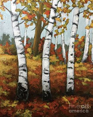Painting - Just Birches by Inese Poga