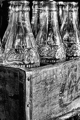 Photograph - Just Coke Bottles Black And White by JC Findley