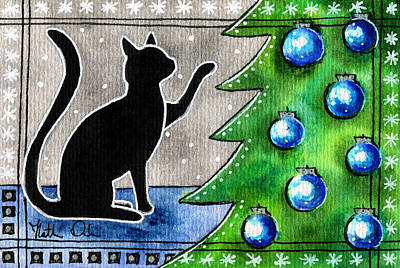 Painting - Just Counting Balls - Christmas Cat by Dora Hathazi Mendes