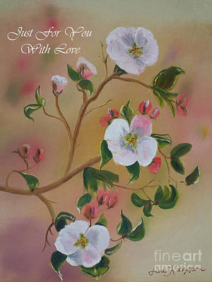 Painting - Just For You- Greeting Card -three Blooms by Jan Dappen