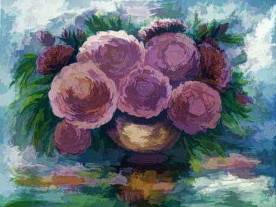 Painting - Just For You Pink Toned Roses by OLena Art Brand