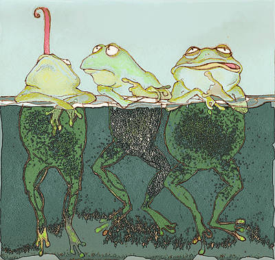 Frogs Mixed Media - Just Hanging by Peggy Wilson