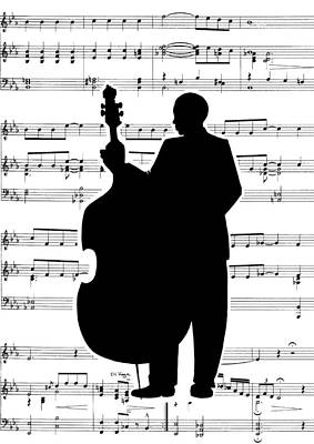 Just Jazz - Double Bass Print by Di Kaye