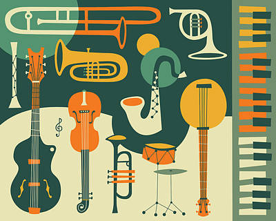Instrument Wall Art - Digital Art - Just Jazz by Jazzberry Blue