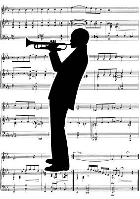 Trumpet Painting - Just Jazz- Trumpet by Di Kaye