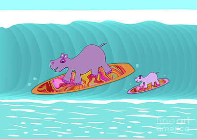 Digital Art - Just Like Momma - Hippos Surfing by Beverley Brown