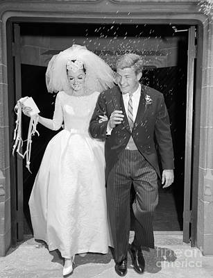 Photograph - Just Married Couple Leaving Church, C by H. Armstrong Roberts/ClassicStock