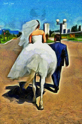 Mary Digital Art - Just Married - Da by Leonardo Digenio