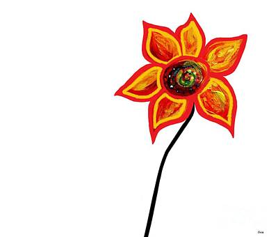 Mexican Painting - Just One Abstract Flower by Eloise Schneider