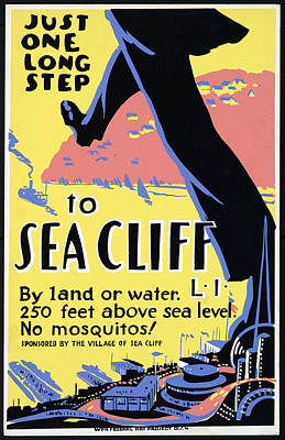 Mixed Media - Just One Long Step To Sea Cliff - Long Island - Retro Travel Poster - Vintage Poster by Studio Grafiikka