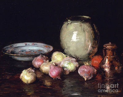 Black Background Painting - Just Onions, 1912 by William Merritt Chase