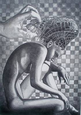 Pop Surrealism Drawing - Just Out Of Reach A Portrait Of Of A Lovers Mind. by Zeb Shaffer