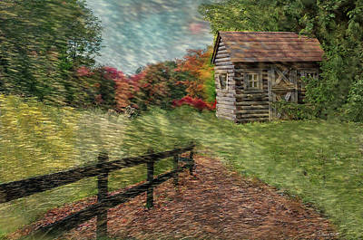 Log Cabins Mixed Media - Just Passing By by Reese Lewis