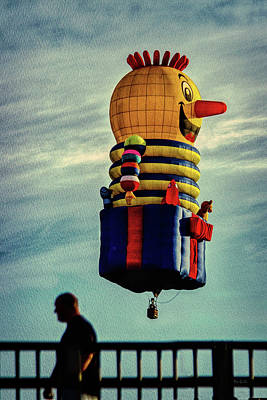 Sunrise Photograph - Just Passing Through  Hot Air Balloon by Bob Orsillo