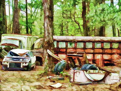 Old School Bus Painting - Just Rusting Away In The Woods by Lanjee Chee